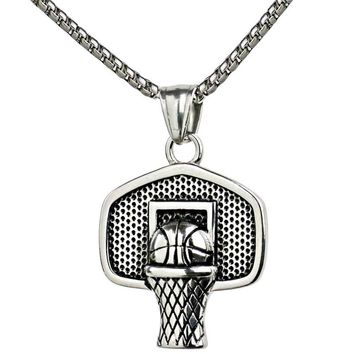 Basketball Basket Pendant Necklace Stainless Steel Chain Ball Necklace Charm Men Sports Team Hip Hop Jewelry