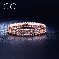 Full Crytal Ring Rose Gold Plated Simple Classic Wedding & Engagement Rings for Women Made With AAA CZ Diamond CC197