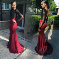 Black Lace Backless Mermaid Prom Dresses,Prom Dress