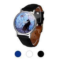 Cat Pattern Leather Band Analog Quartz New Wristwatch Womens Elegant Stainless Steel Waterproof Wrist Watch Watches Woman A20