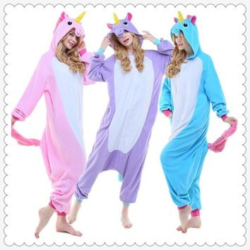 Unicorn Onesuits Pijama Winter Sleepwear Pegasus Animal Pajamas For Adult Kids