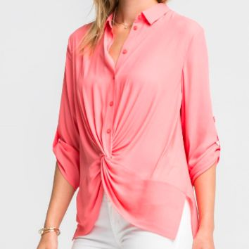 Women's Button Front Collared Blouse with Front Twist