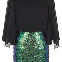Glitz Mix Dress | Duo Fabric Kimono Sleeve Sequin Dresses | RicketyRack.com