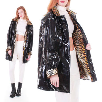 80s Vintage Black PVC Raincoat Leopard Lining Shiny Wet Look Vinyl Retro Goth A - Line Wide Sweep Midi Winter Jacket Women Size XL