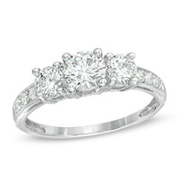 Lab-Created White Sapphire Three Stone Ring in Sterling Silver