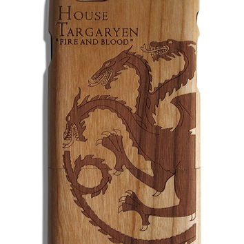 House Targaryen Game of Thrones Fire and Blood fan art laser print Iphone 5 /5s/ 6/6s wooden engraved bamboo phone case cover