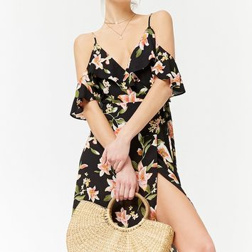 Open-Shoulder Floral Wrap Dress