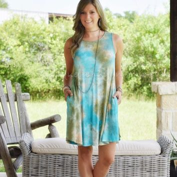 TIE DYE MINI DRESS WITH POCKETS