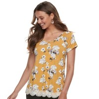 Juniors' Rewind Crochet-Hem Cross-Back Tee | null