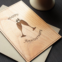Anniversary Wood Greeting Card - Wedding Anniversary Card