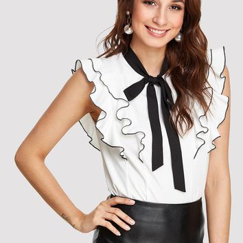 Tie Neck Layered Ruffle Trim Top