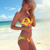 Yellow Floral Strapless Push-up Bikini Set Padded Bra Triangle Swimsuit Swimwear