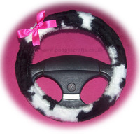 Cute black and white Cow print faux fur fuzzy car steering wheel cover with barbie pink satin bow