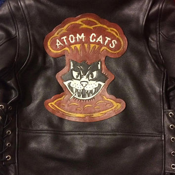 Atom Cats Tooled Leather Back Patch Made to Order