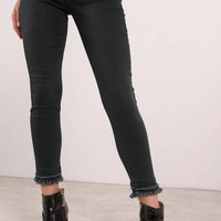 Downtown High Waisted Double Hem Denim Pants