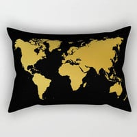 World Map Pillow Black Gold  Lumbar Hipster Rectangle 17x12 20x14 25.5x18 28x20 Insert Included Home Dorm Decor Travelers Gift Going Away