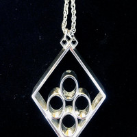 Vintage 1960s Mod Geometric Silver Pendant on Silver Chain