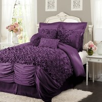 Lush Decor Lucia Purple Queen 4 Piece Comforter Set by Lush Decor Bedding: The Home Decorating Company