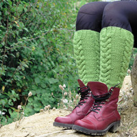 Knitted Legwarmers Woman Green, Cable Knit Boot Cuff. Knit Leg Warmers, Knee High Socks, Fall Boot Toppers, Stocking Stuffers, For Her, Gift
