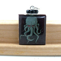 HP Lovecraft Cthulhu Wood Scrabble Tile by TheCraftyPandaGirl