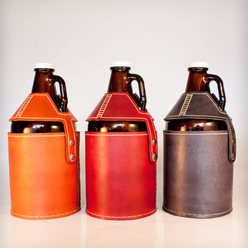 Leather Beer Growler Carrier