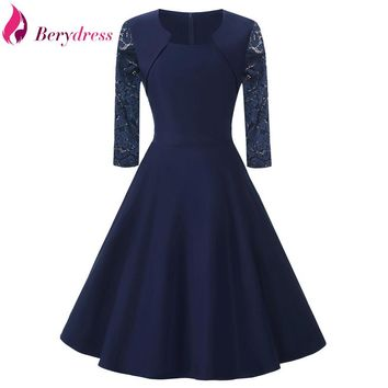 Berydress Elegant Womens Autumn Winter Square Collar 3/4 Lace Sleeve Patchwork Stretchy A-Line Vintage Swing Dress with Pockets