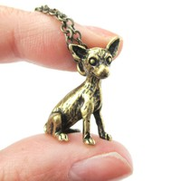Realistic Chihuahua Puppy Dog Shaped Animal Pendant Necklace in Brass | Jewelry for Dog Lovers