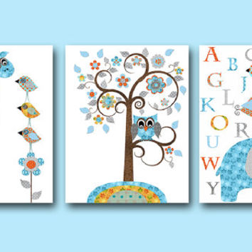 Giraffe Nursery Alphabet Baby Boy Nursery Art Nursery Wall Art Kids Room Decor Kids Art set of 3 8x10 Bird Elephant Nursery Orange Gray Blue