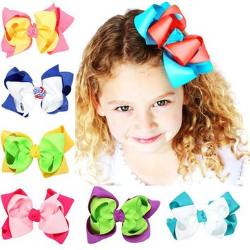 5 inch Double Layer Hair Bow Girls Hair Accessories With Clips Grosgrain Ribbon Hairpins Multicolor Optional Free Shipping