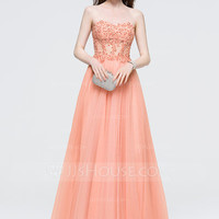 [ 159.99] A-Line/Princess Sweetheart Floor-Length Tulle Prom Dress With Beading Sequins (018089695)