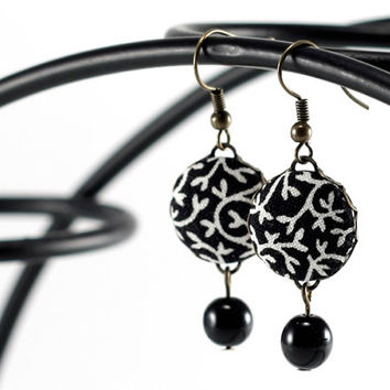 Dangle Earrings - Black Tendrils and Beads - Romantic Black and White Fabric Covered Buttons Earrings with Czech Beads