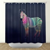 DiaNoche Designs Shower Curtains by Arist Monika Strigel Unique, Cool, Fun, Funky, Stylish, Decorative Home Decor and Bathroom Ideas - Rainbow Zebra