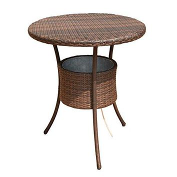 "Costway 31.5"" 7.9-Gal Cool Bar Rattan Style Outdoor Patio Party Deck Pool Cooler Table With Ice Bucket, Brown"