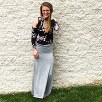 Heather Grey Maxi Skirt