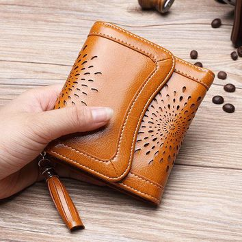 Women Split Leather Retro Wallet Small Trifold Wallet