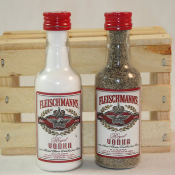 Salt & Pepper Shakers Upcycled from Fleischmann's Mini Bottles