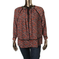 Michael Kors Womens Chiffon Cut-Out Blouse