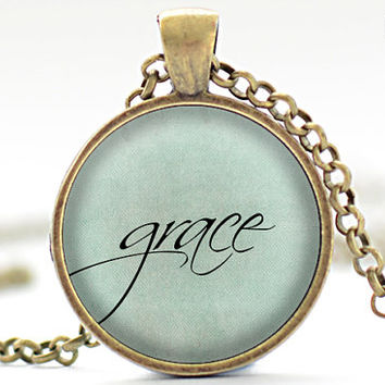 Grace Necklace, One Word Jewelry, Inspirational Charm, Blue Pendant, Your Choice of Finish (1916)