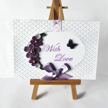 With love card, quilled card, card for her, handmade card, blank card, greeting card, thank you card, birthday card, just because card