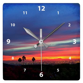 Orange & blue clouds sunrise sky photo wall clock