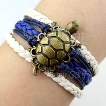 Longevity Turtle Bracelet Navy Blue Rope Bracelet Friendship Charm Bracelet Best Gift.
