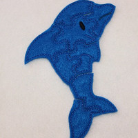 Felt dolphin puzzle embroidered, embroidery, jigsaw puzzle, learning toy, activity, quiet game, kids toys, montessori, homeschool, busy book