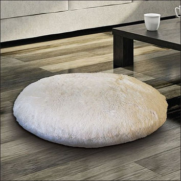 Large Faux Fur Floor Cushion Round Pillow