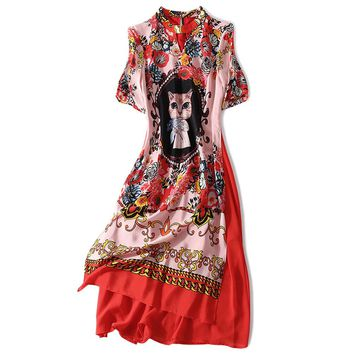 Women's Chinese Style Real Silk Cat Print Hollow Out Collar Dress M-XXL