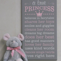 Princess Decor, Princess Rules, A True Princess - Painted Wooden Gray Sign, Princess Crown Sign -  Princess Subway Art Baby Girl Nursery