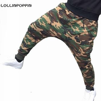 Men Camouflage Harem Joggers New 2017 Camo Print Male Casual Jogger Pants Drop Crotch Sweatpants Free Shipping