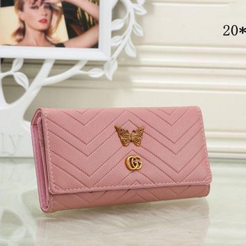Gucci Stylish Women Metal Letter Butterfly Leather Purse Wallet Pink I-MYJSY-BB