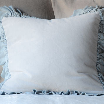Velvet 16x16 Throw Pillow with Satin Ruffle in CLOUD