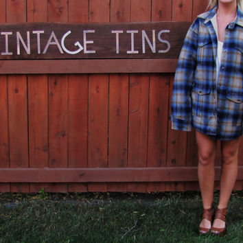 vintage oversized fleece lined faded flannel. discounted. sold as is. thick warm hipster fleece line flannel