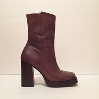 Candie's - 8 US - ankle, brown, mid-calf, chunky, leather boots, platform heels - '90s, industrial, minimalist, stomp, made in Brazil